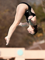 The Occidental College diving team competes against Whittier College at the Rose Bowl Aquatic Center on January 15, 2010. (Photo by Marc Campos, Occidental College)