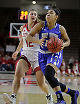 VERMILLION, SD: JANUARY 13:  Anna Lappenkuper #12 of Ft. Wayne drives on Jaycee Bradley #12 of South Dakota during their Summit League game Saturday January 13 at the Sanford Coyote Sports Center in Vermillion, S.D.   (Photo by Dick Carlson/Inertia)
