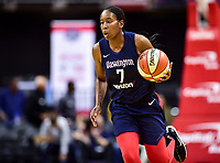 Washington, DC - June 15, 2018: Washington Mystics guard Ariel Atkins (7) brings the ball up court during game between the Washington Mystics and Chicago Sky at the Capital One Arena in Washington, DC. (Photo by Phil Peters/Media Images International)