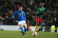 Arthur of Brazil and Barcelona and Karl Toko Ekambi of Cameroon and Villarreal during Brazil vs Cameroon, International Friendly Match Football at stadium:mk on 20th November 2018