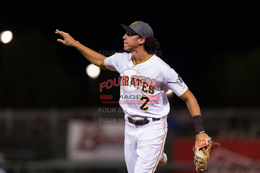 AFL West shortstop Cole Tucker (2), of the Surprise Saguaros and the Pittsburgh Pirates organization, tosses a ball towards the mound as he jogs off the field between innings of the Fall Stars game at Surprise Stadium on November 3, 2018 in Surprise, Arizona. The AFL West defeated the AFL East 7-6 . (Zachary Lucy/Four Seam Images)