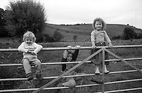 Louis, Olive, and Lucas at Thackston cottage, somerset. England. Summer 2003