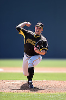 Pittsburgh Pirates pitcher Cory Rhodes (16) during a minor league spring training game against the New York Yankees on March 28, 2015 at Pirate City in Bradenton, Florida.  (Mike Janes/Four Seam Images)