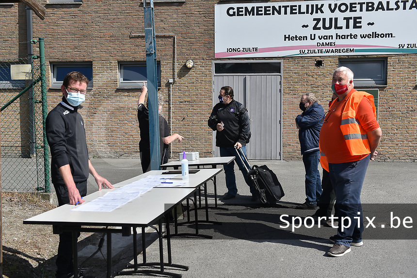 Coronaproof entrance of the stadion pictured during a female soccer game between SV Zulte - Waregem and RSC Anderlecht Dames on the second matchday of the 2020 - 2021 season of Belgian Scooore Women s SuperLeague , saturday 5 th of September 2020  in Zulte , Belgium . PHOTO SPORTPIX.BE   SPP   DIRK VUYLSTEKE
