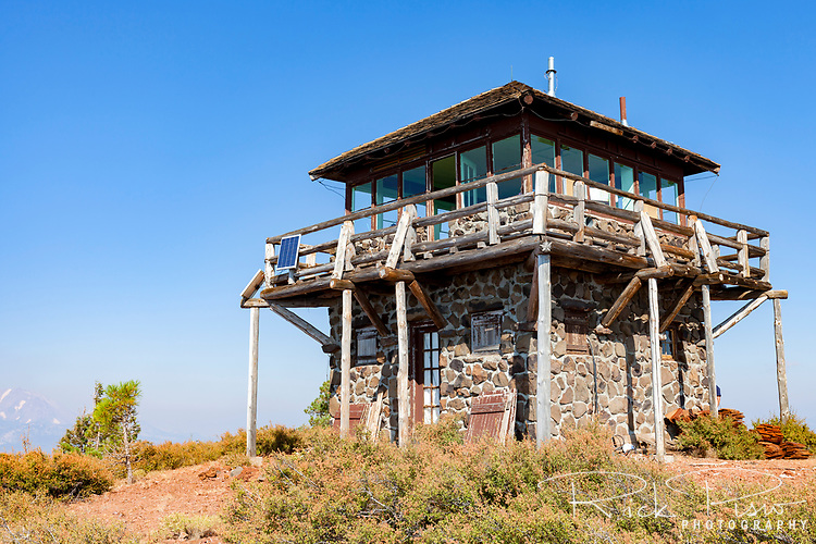 The Mt. Harkness fire lookout station sits atop Mt. Harkness in Lassen Volcanic National Park.