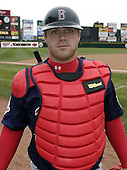 April 12, 2004:  Kelly Shoppach of the Pawtucket Red Sox, Triple-A International League affiliate of the Boston Red Sox, during a game at Frontier Field in Rochester, NY.  Photo by:  Mike Janes/Four Seam Images