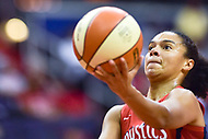 Washington, DC - August 17, 2018: Washington Mystics guard Kristi Toliver (20) goes up for a lay up during game between the Washington Mystics and Los Angeles Sparks at the Capital One Arena in Washington, DC. (Photo by Phil Peters/Media Images International)