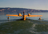 Grumman, G-44, Widgeon N45PV, taxis for take off at the Clear Lake Seaplane Splash-In, Lakeport, Lake County, California