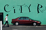 City sign on parking lot wall,  Westwood Village, 1987