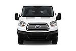 Car photography straight front view of a 2019 Ford Transit Wagon 350 XLT Wagon Low Roof 60/40 Pass. 148WB 5 Door Passenger Van
