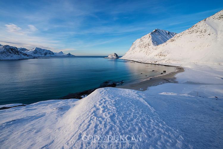 Winter view over Haukland beach, Vestvågøy, Lofoten Islands, Norway
