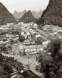 CHINA, Guilin, elevated view of Guilin and limestone spires at dusk (B&W)