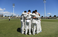 21st November 2019; Mt Maunganui, New Zealand;  NZ team huddle before the start of play. international test match cricket, Day 1, New Zealand versus England at Bay Oval, Mt Maunganui, New Zealand.