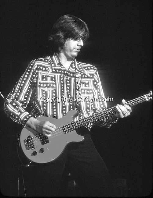 Nick Lowe onstage with Rockpile in November, 1978 at the Palladium in NYC-also available in color.