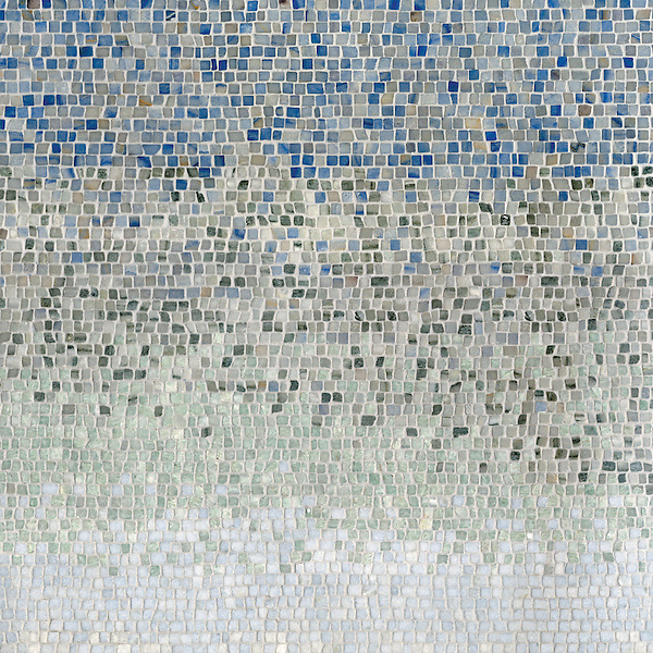 Mist, a hand-chopped stone mosaic, shown in 1.0 cm tumbled Blue Macauba, Kay's Green, and Ming Green, Celeste.