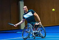 Alphen aan den Rijn, Netherlands, December 14, 2018, Tennispark Nieuwe Sloot, Ned. Loterij NK Tennis,  Wheelchair men's doubles : Maikel Scheffers  (NED)<br /> Photo: Tennisimages/Henk Koster