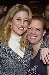 Caissie Levy and Patti Murin  during the Actors' Equity Opening Night Gypsy Robe Ceremony honoring Jeremy Davis for 'Frozen' at the St. James Theatre on March 22, 2018 in New York City.
