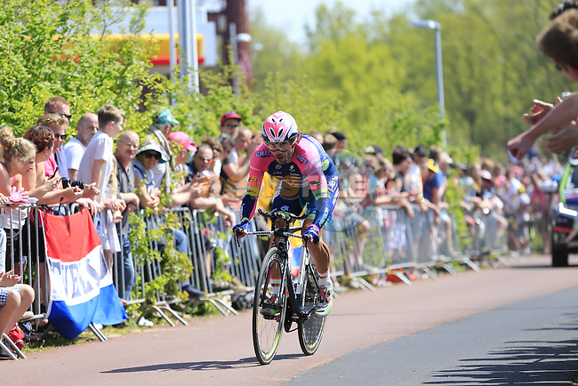 Roberto Ferrari (ITA) Lampre-Merida in action during Stage 1 of the 2016 Giro d'Italia, an individual time trial of 9.8km around Apeldoorn, The Nethrerlands. 6th May 2016.<br /> Picture: Eoin Clarke | Newsfile<br /> <br /> <br /> All photos usage must carry mandatory copyright credit (&copy; Newsfile | Eoin Clarke)