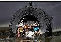 Nederland Amsterdam - 2019. Meerkoet heeft een nest gemaakt in een autoband.   Foto Berlinda van Dam / Hollandse Hoogte.