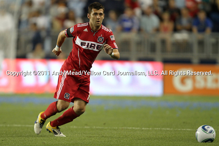 09 June 2011: Chicago's Gonzalo Segares (CRC). Sporting Kansas City played the Chicago Fire to a 0-0 tie in the inaugural game at LIVESTRONG Sporting Park in Kansas City, Kansas in a 2011 regular season Major League Soccer game.