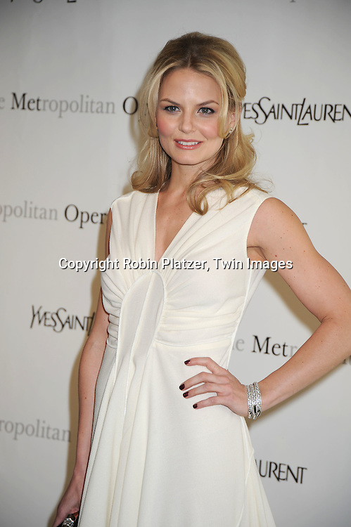 "actress Jennifer Morrison in Yves Saint Laurent white dress attending The Metropolitan Opera's Gala Premiere of ""Armida"" on April 12, 2010 at The Metropolitan Opera House in New York City"