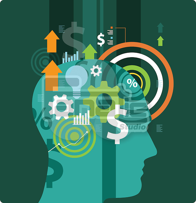 Illustrative image of head with arrow signs, gears, bulb and dollar sign representing business idea