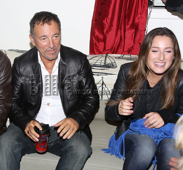 Bruce Springsteen and Jessica Springsteen backstage after a performance of 'The Last Ship' at the Neil Simon Theatre on October 15, 2014 in New York City.