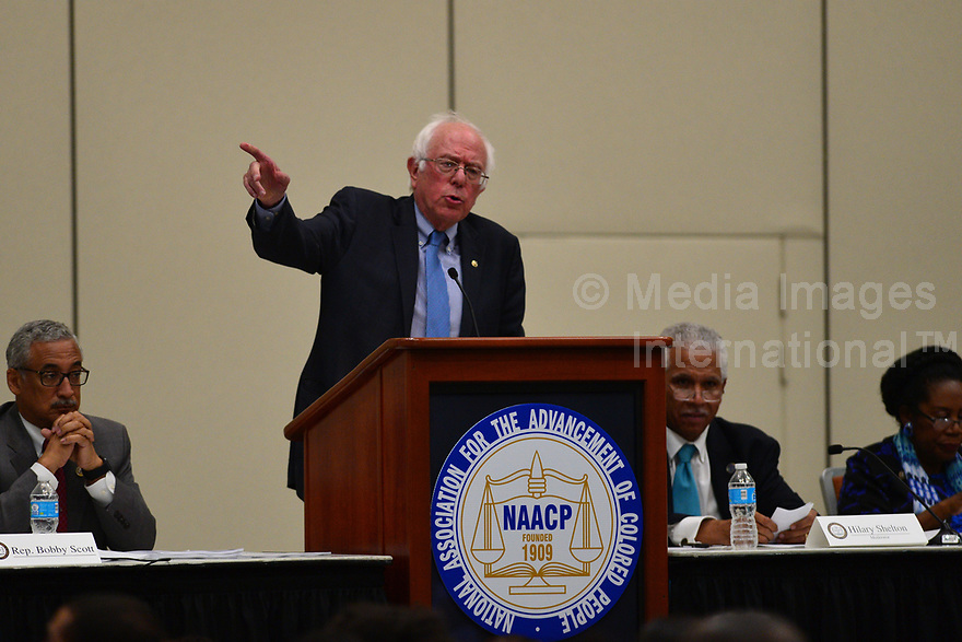 Baltimore, MD - July 24, 2017: U.S. Senator Bernie Sanders speaks at the Federal Policy Legislative Workshop during the 108th Convention of the NAACP in Baltimore, MD, July 24, 2017  (Photo by Don Baxter/Media Images International)