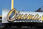 Cinema sign on car wash in Hollywood, CA