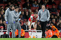 Granit Xhaka of Arsenal gets ready to enter the field of play after receiving treatment for an injury during Arsenal vs Eintracht Frankfurt, UEFA Europa League Football at the Emirates Stadium on 28th November 2019