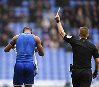 25th January 2020; Madejski Stadium, Reading, Berkshire, England; English FA Cup Football, Reading versus Cardiff City; Yakou Meite of Reading receives a yellow card for removing his shirt
