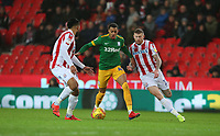 Preston North End's Lukas Nmecha battles with Stoke City's James McClean (right)  and Ashley Williams (left) <br /> <br /> Photographer Stephen White/CameraSport<br /> <br /> The EFL Sky Bet Championship - Stoke City v Preston North End - Saturday 26th January 2019 - bet365 Stadium - Stoke-on-Trent<br /> <br /> World Copyright © 2019 CameraSport. All rights reserved. 43 Linden Ave. Countesthorpe. Leicester. England. LE8 5PG - Tel: +44 (0) 116 277 4147 - admin@camerasport.com - www.camerasport.com