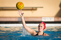 STANFORD, CA - February 4, 2018: Aria Fischer at Avery Aquatic Center. The Stanford Cardinal defeated Long Beach State 14-2.
