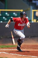 Great Lakes Loons outfielder Logan Landon (9) runs to first during a game against the Clinton LumberKings on August 16, 2015 at Ashford University Field in Clinton, Iowa.  Great Lakes defeated Clinton 3-2 in ten innings.  (Mike Janes/Four Seam Images)