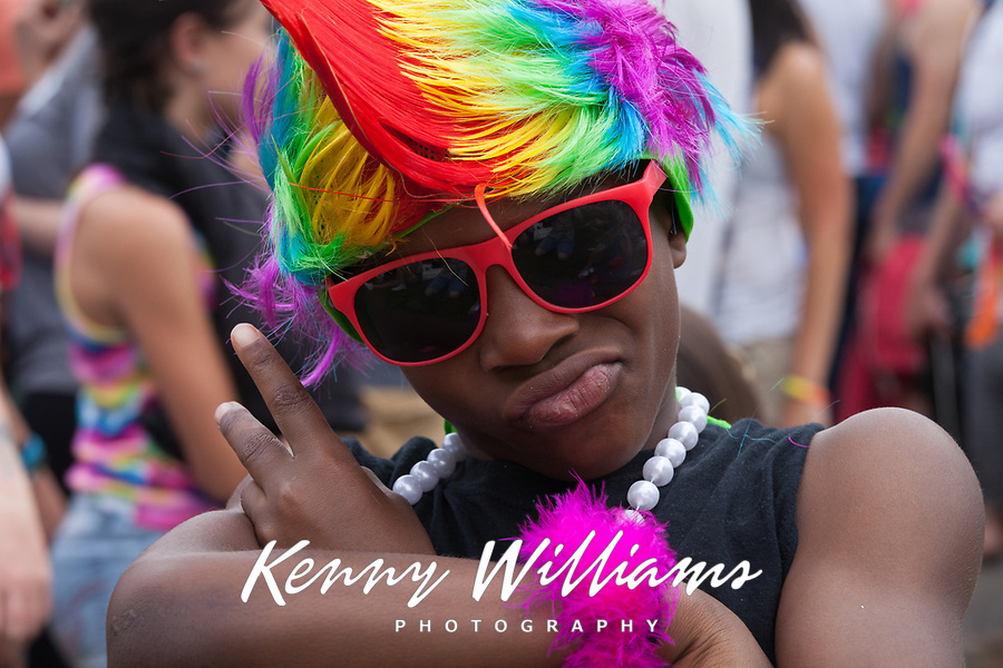 African American Boy Wearing Rainbow Colored Mohawk, Pride Festival, Seattle, WA, USA.