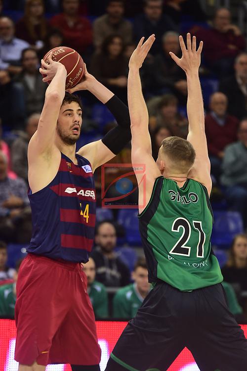 League ACB-ENDESA 2016/2017 - Game: 13.<br /> FC Barcelona Lassa vs Divina seguros Joventut: 79-77.<br /> Ante Tomic vs Tomasz Gielo.