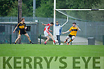 Sean M O Conchuir West Kerry slips his marker Fionn Fitzgerald Dr Crokes to score a goal in the first minute past Crokes keeper Shane Murphy in their SFCC clash in Lewis Road on Saturday