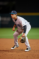 Tampa Tarpons first baseman Brandon Wagner (33) during a game against the Lakeland Flying Tigers on April 5, 2018 at Publix Field at Joker Marchant Stadium in Lakeland, Florida.  Tampa defeated Lakeland 4-2.  (Mike Janes/Four Seam Images)