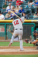 Jeff Bianchi (12) of the Nashville Sounds at bat against the Salt Lake Bees in Pacific Coast League action at Smith's Ballpark on June 23, 2014 in Salt Lake City, Utah.  (Stephen Smith/Four Seam Images)