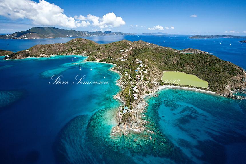 Long Point showing Southside Pond, Round Bay and Pond Bay.St. John.U.S. Virgin Islands