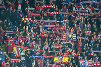 The Atletico Madrid support during the UEFA Champions League QF 2nd Leg match between Leicester City and Atletico Madrid at the King Power Stadium, Leicester, England on 18 April 2017. Photo by Andy Rowland.