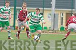 Conor McCarthy Killarney Celtic goes past Adam Quirke Renmore in Killarney on Saturday