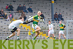 Barry John Keane Kerry turns Cian Coady Limerick during the McGrath cup semi final in Killarney on Sunday