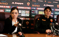 Il nuovo allenatore della Roma Vincenzo Montella, a destra, affiancato dal presidente Rosella Sensi durante la conferenza stampa di presentazione al centro sportivo di Trigoria, Roma, 20 febbraio 2011..AS Roma's new trainer Vincenzo Montella, right, flanked by president Rosella Sensi, attends the official presentation press conference at the club's sporting center, Rome, 20 february 2011..UPDATE IMAGES PRESS/Riccardo De Luca