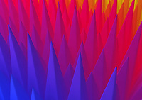 Abstract rows of spikes arranged in colour gradient