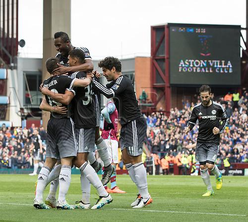02.04.2016. Villa Park, Birmingham, England. Barclays Premier League. Aston Villa versus Chelsea.  Chelsea midfielder Ruben Loftus-Cheek celebrates with his team mates after scoring the matches first goal in the 26th minute (0-1).