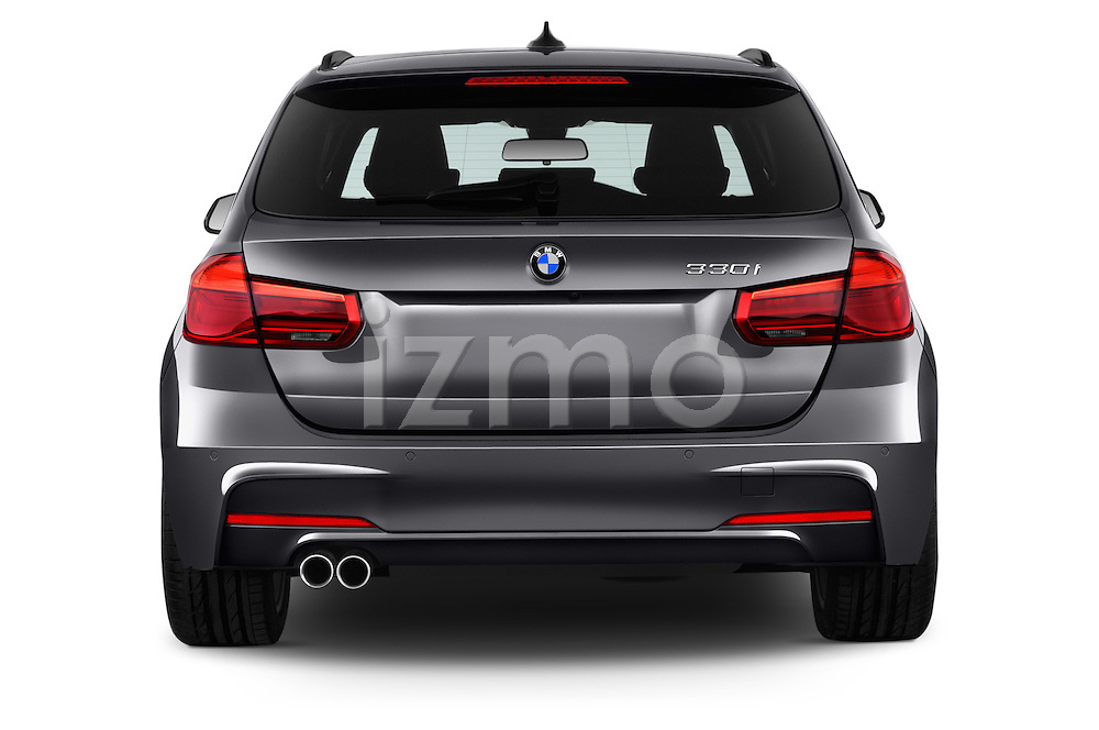 Straight rear view of 2016 BMW 3 Series M Sport 5 Door Wagon Rear View  stock images
