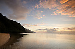 Sunset at Ke'e Beach and the Na Pali Coast, Kauai, Hawaii