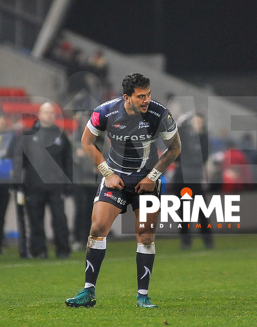 New signing Sale Sharks Denny Solomona during the European Rugby Champions Cup match between Sale Sharks and Saracens at AJ Bell Stadium, Salford, England on 18 December 2016. Photo by Paul Bell.