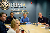 Washington, DC, August 31, 2008 --  United States President George W. Bush joins Federal Emergency Management Agency (FEMA) Administrator David Paulison and FEMA Deputy Administrator Harvey Johnson and other FEMA staff for a Video Teleconference with Federal Partners, FEMA regions and the states which will possibly be affected by Hurricane Gustav at FEMA headquarters.  .Credit: Bill Koplitz - FEMA via CNP